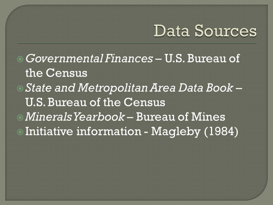  Governmental Finances – U.S. Bureau of the Census  State and Metropolitan Area Data Book – U.S.