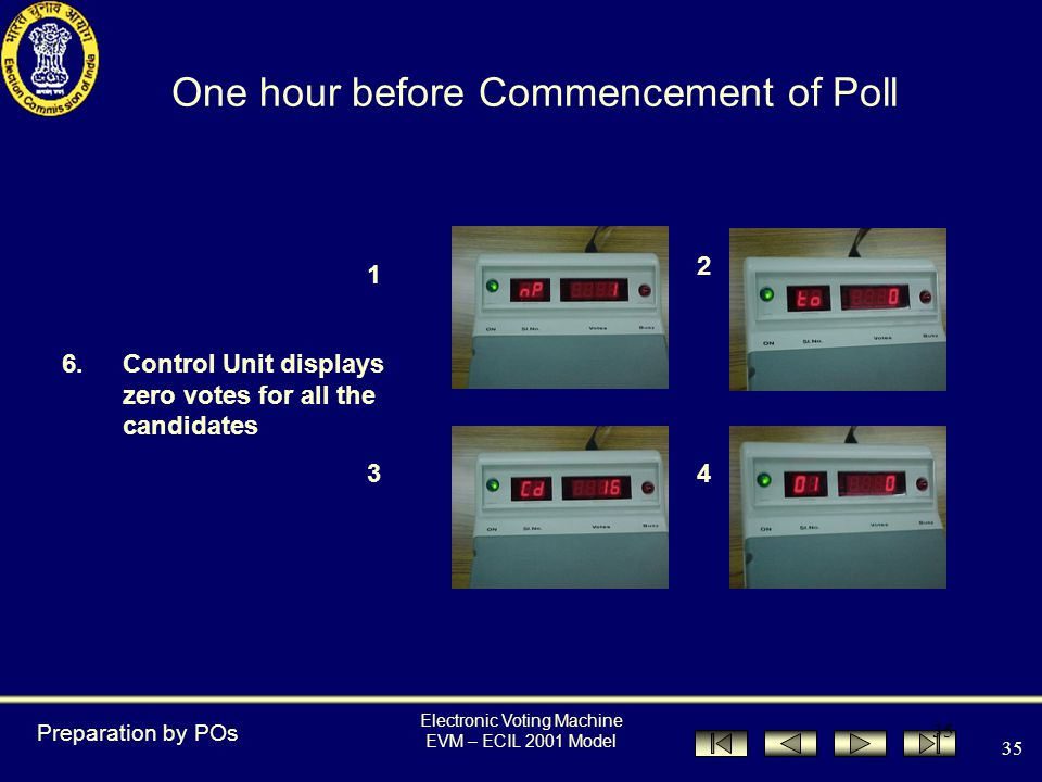 Electronic Voting Machine EVM – ECIL 2001 Model 34 5.Press Clear button to show to the agents present that there are no votes polled One hour before Commencement of Poll Preparation by POs