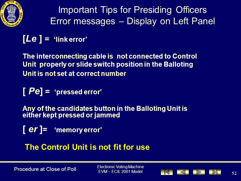 Electronic Voting Machine EVM – ECIL 2001 Model 51 [ nP ] [ 1 ] The machine is set for single poll [ Cd ] [ 4 ] The machine is set for 4 candidates [ to ] [1087] Total No.
