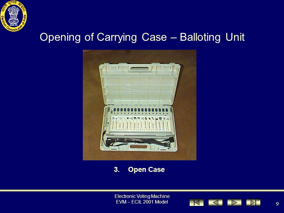 Electronic Voting Machine EVM – ECIL 2001 Model 8 Opening of Carrying Case – Balloting Unit Description 1.Pull and push upwards simultaneously to release 2.Lift to open