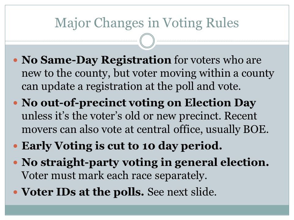 Major Changes in Voting Rules No Same-Day Registration for voters who are new to the county, but voter moving within a county can update a registration at the poll and vote.