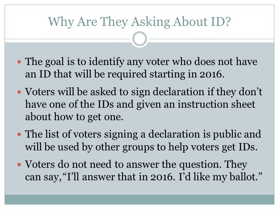 Why Are They Asking About ID.