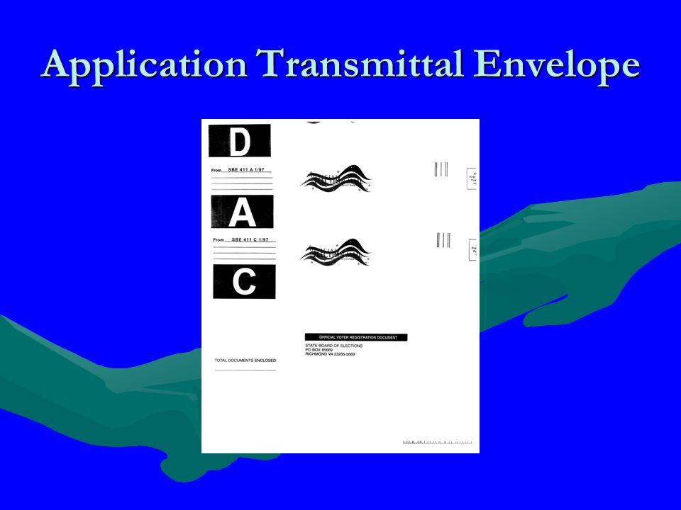 Application Transmittal Envelope