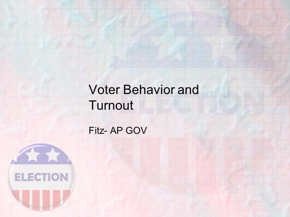 Voter Behavior and Turnout Fitz- AP GOV