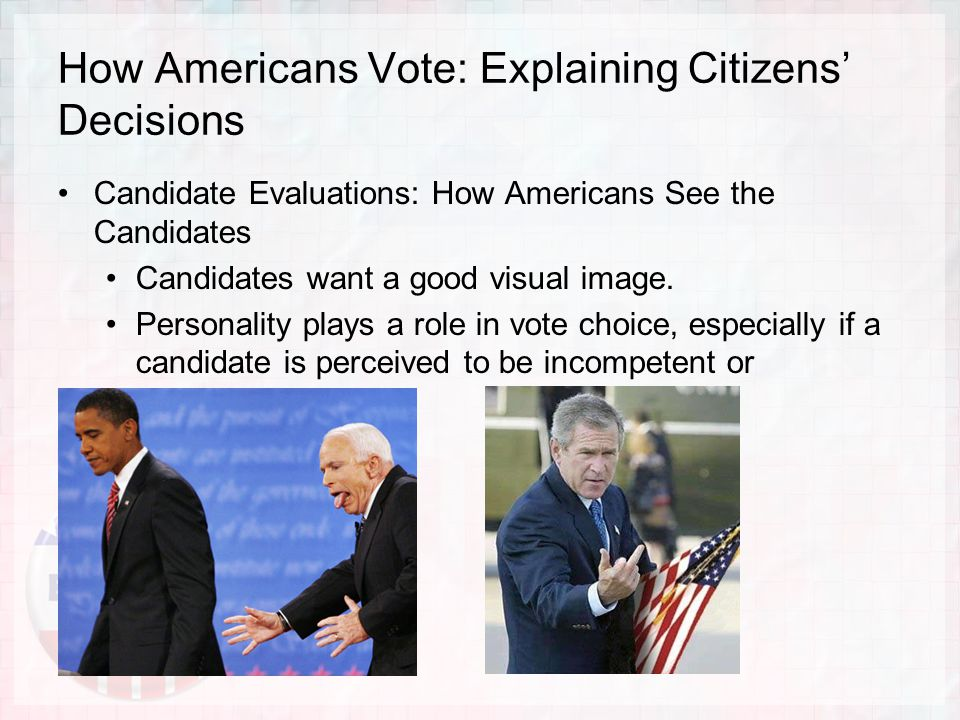 Candidate Evaluations: How Americans See the Candidates Candidates want a good visual image.