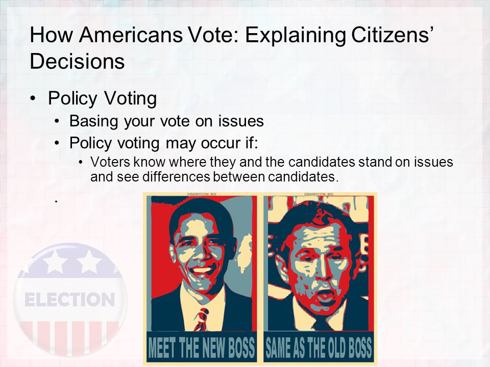 How Americans Vote: Explaining Citizens' Decisions Policy Voting Basing your vote on issues Policy voting may occur if: Voters know where they and the candidates stand on issues and see differences between candidates..