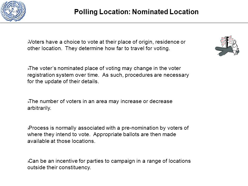 Polling Location: Nominated Location  Voters have a choice to vote at their place of origin, residence or other location.