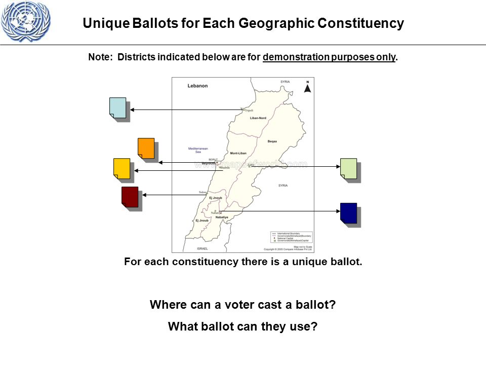 Unique Ballots for Each Geographic Constituency For each constituency there is a unique ballot.