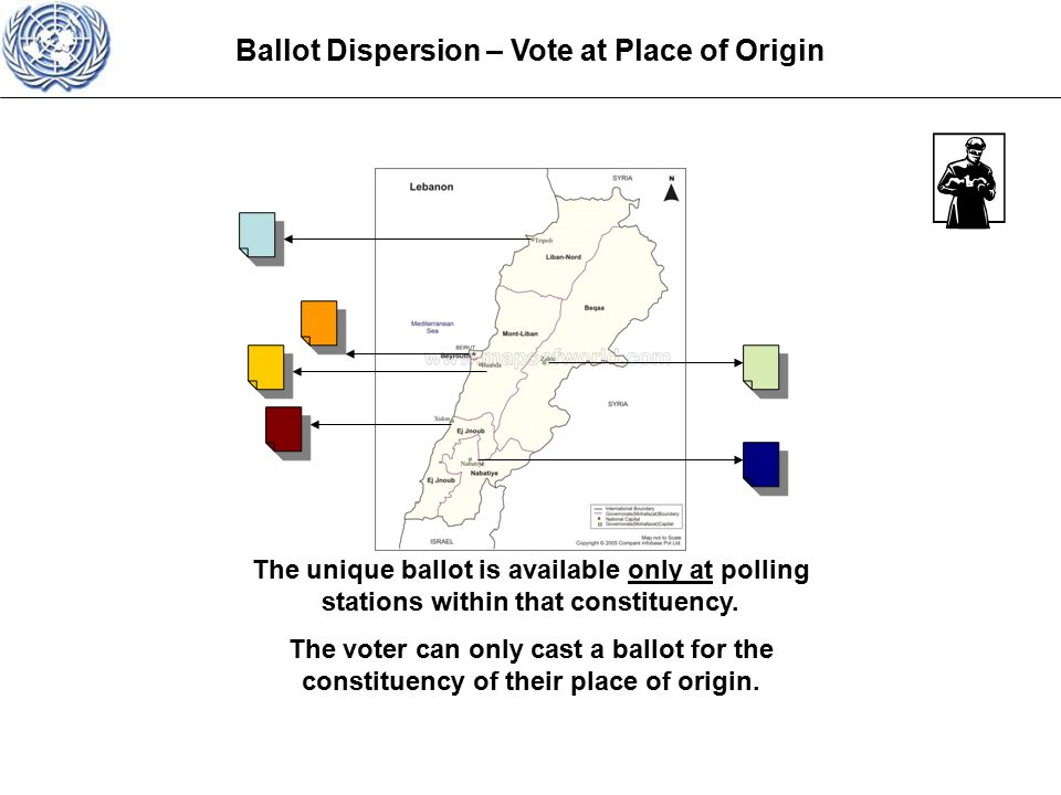 Ballot Dispersion – Vote at Place of Origin The unique ballot is available only at polling stations within that constituency.