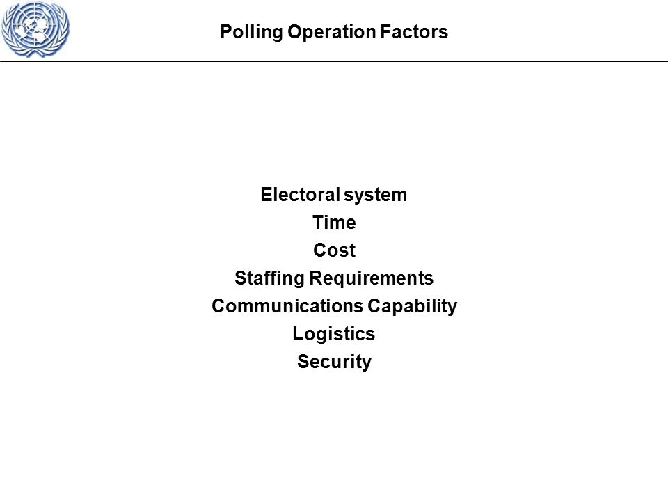 Electoral system Time Cost Staffing Requirements Communications Capability Logistics Security Polling Operation Factors