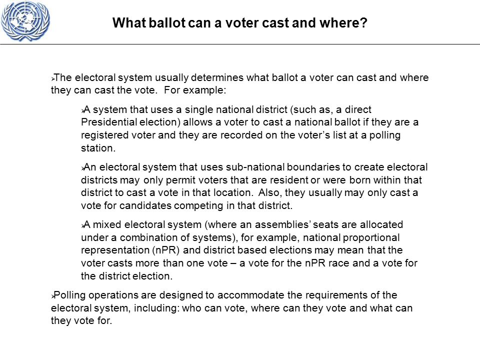 What ballot can a voter cast and where.