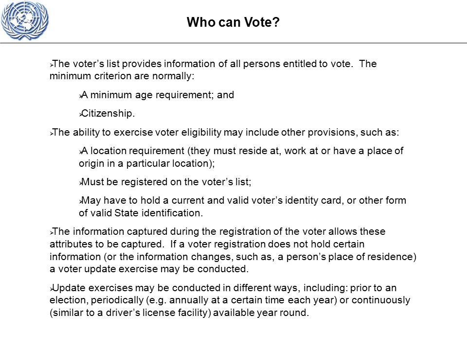 Who can Vote.  The voter's list provides information of all persons entitled to vote.
