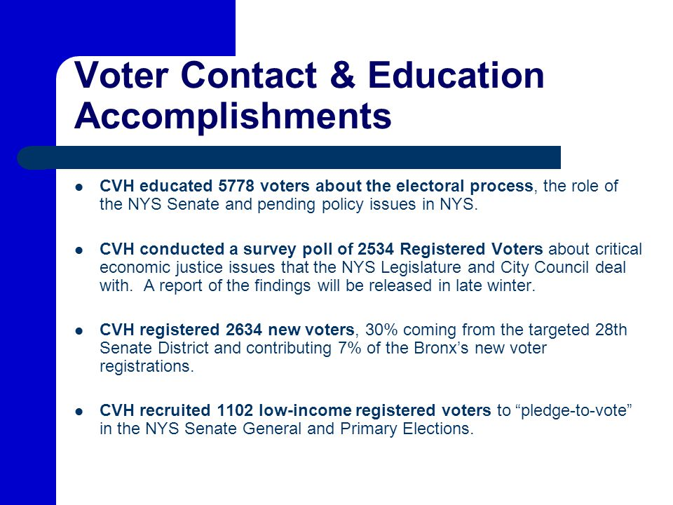 Voter Contact & Education Accomplishments CVH educated 5778 voters about the electoral process, the role of the NYS Senate and pending policy issues in NYS.