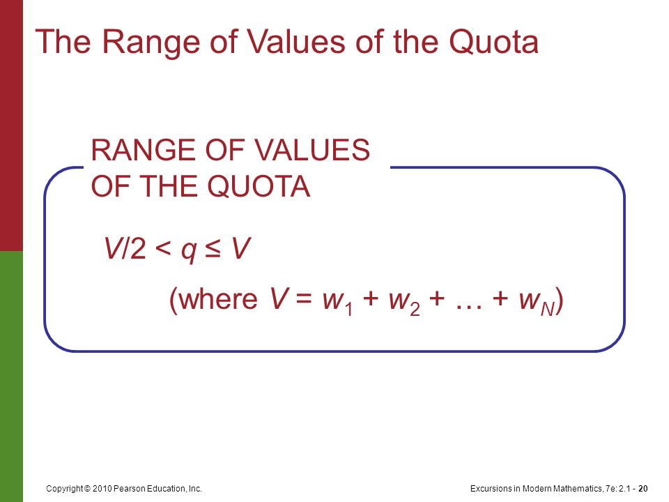 Excursions in Modern Mathematics, 7e: 2.1 - 20Copyright © 2010 Pearson Education, Inc. The Range of Values of the Quota V/2 < q ≤ V (where V = w 1 + w