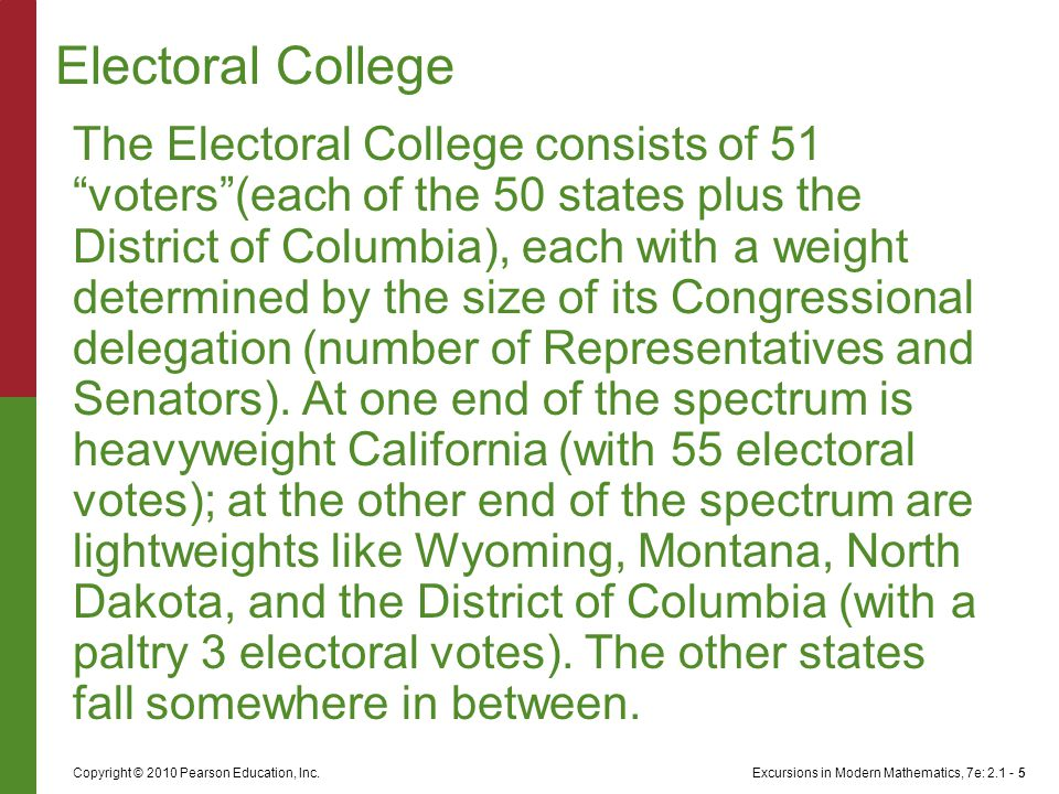 "Excursions in Modern Mathematics, 7e: 2.1 - 5Copyright © 2010 Pearson Education, Inc. The Electoral College consists of 51 ""voters""(each of the 50 sta"