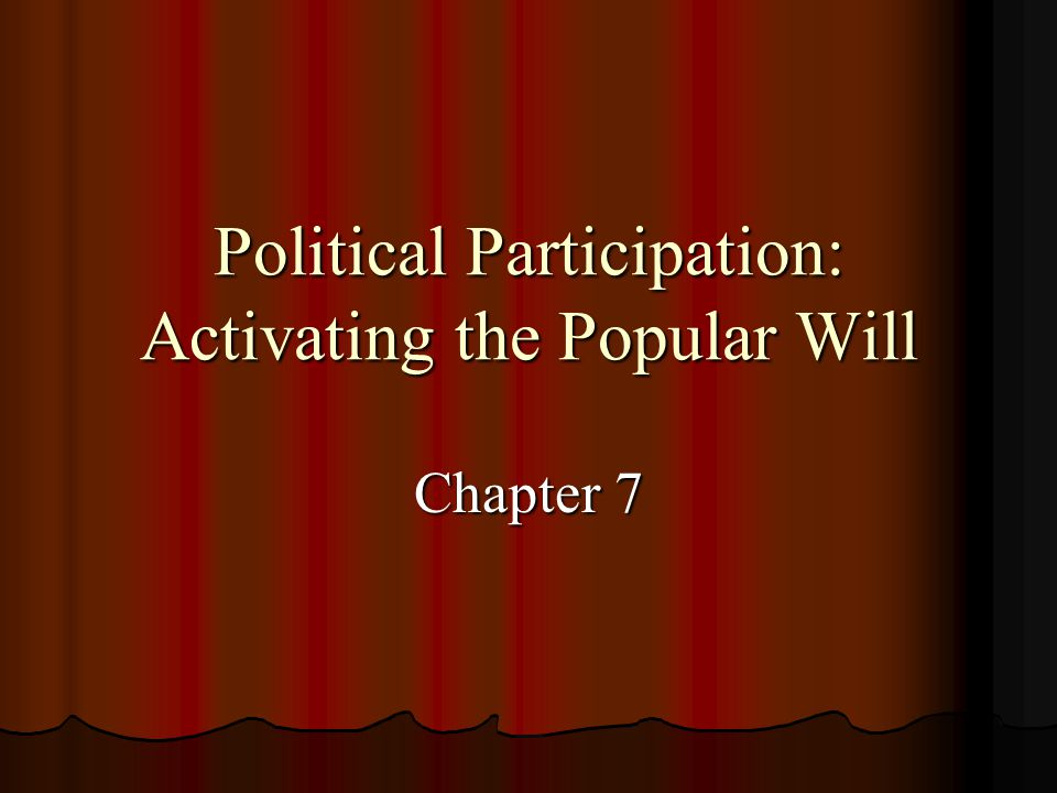 Political Participation: Activating the Popular Will Chapter 7