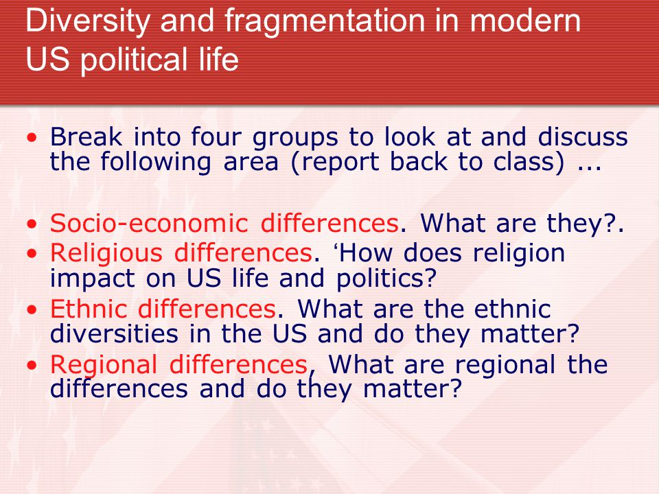 Diversity and fragmentation in modern US political life Break into four groups to look at and discuss the following area (report back to class)...