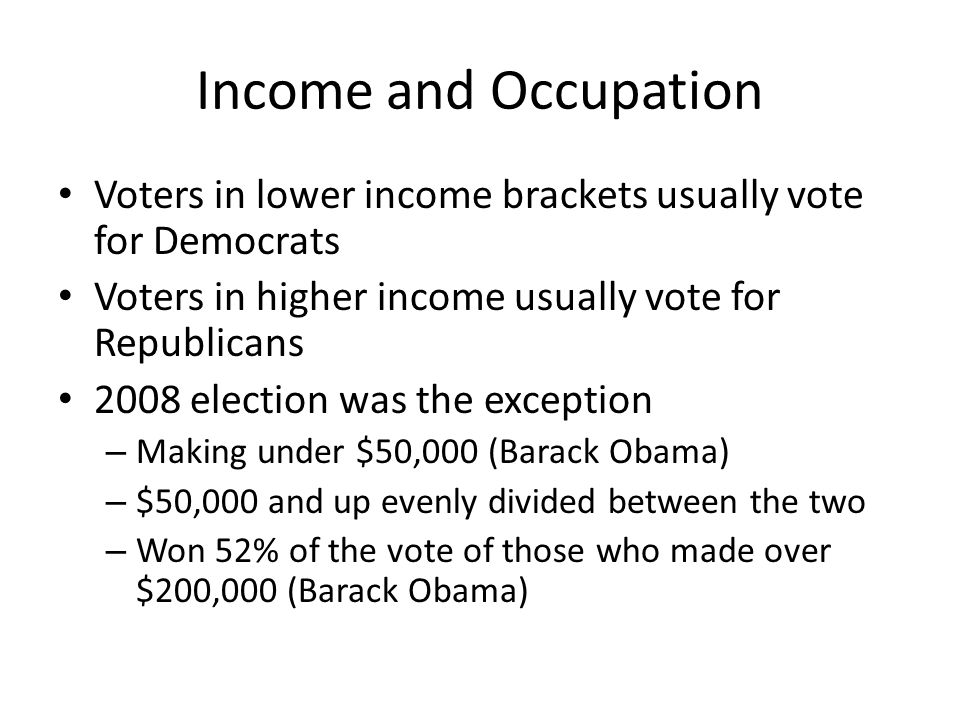 Income and Occupation Voters in lower income brackets usually vote for Democrats Voters in higher income usually vote for Republicans 2008 election wa