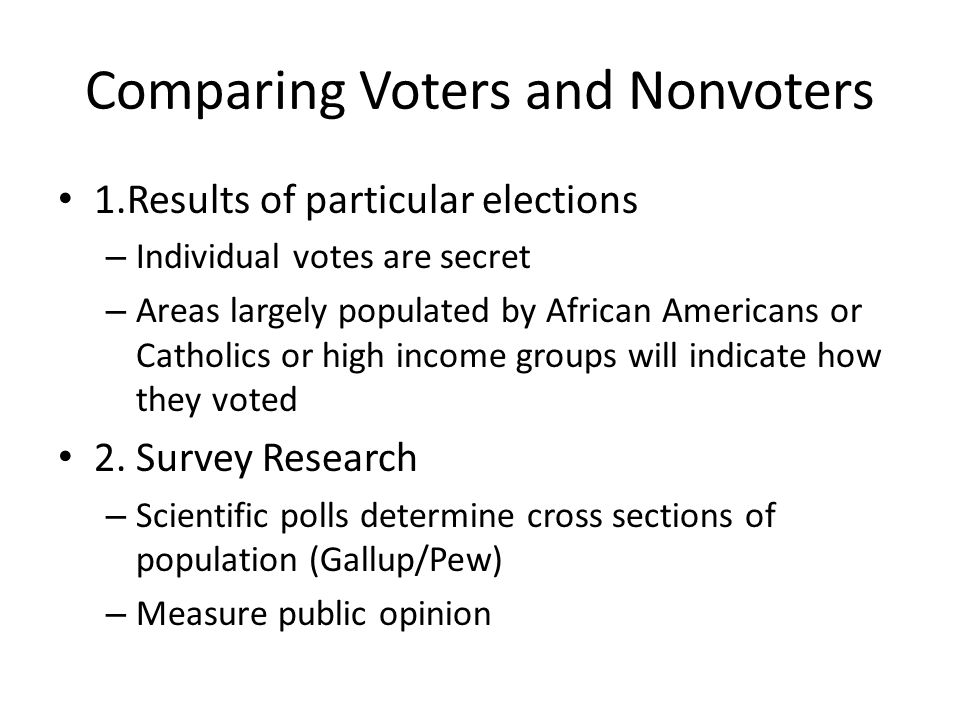 Comparing Voters and Nonvoters 1.Results of particular elections – Individual votes are secret – Areas largely populated by African Americans or Catho