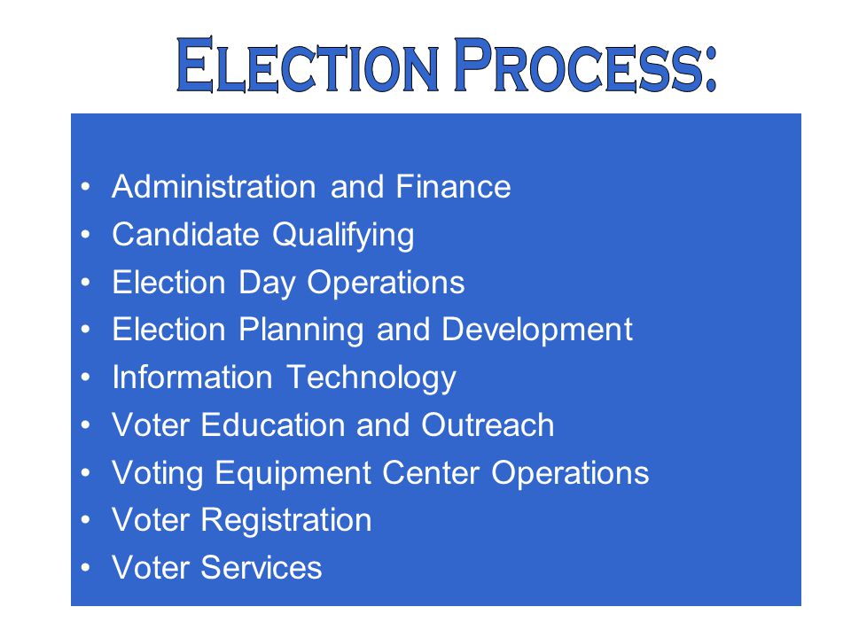 3 Election Process: Administration and Finance Candidate Qualifying Election Day Operations Election Planning and Development Information Technology Voter Education and Outreach Voting Equipment Center Operations Voter Registration Voter Services