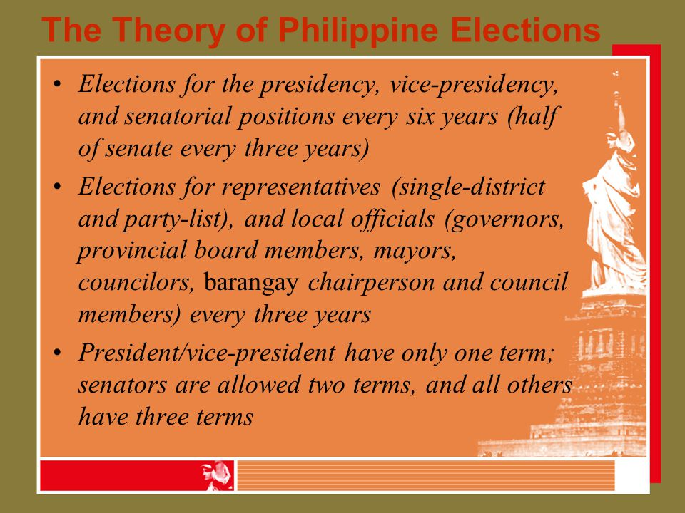The Theory of Philippine Elections Elections for the presidency, vice-presidency, and senatorial positions every six years (half of senate every three years) Elections for representatives (single-district and party-list), and local officials (governors, provincial board members, mayors, councilors, barangay chairperson and council members) every three years President/vice-president have only one term; senators are allowed two terms, and all others have three terms
