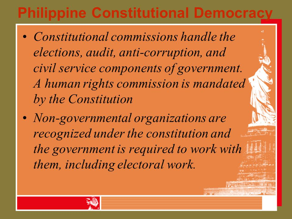 Campaign financing laws 1987 Constitution –Mandates Comelec to regulate campaign spending –Ban foreign electoral contribution –Supervise use of government permits or franchises during elections The intent here is to ensure equal opportunity in running for elective positions