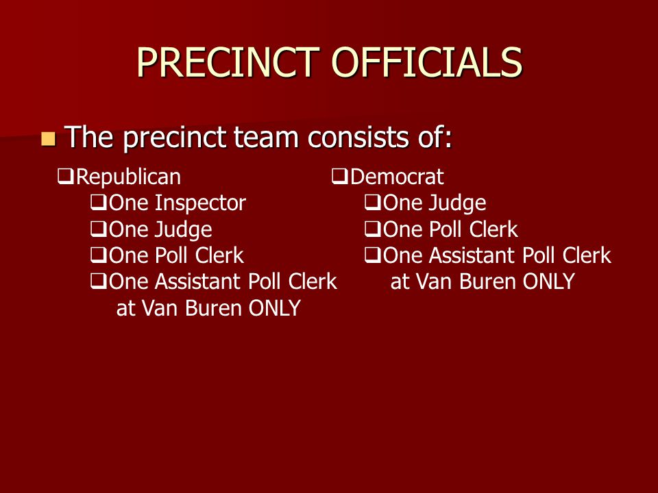 ELECTION SET UP Contact your Inspector to confirm your attendance at the Monday evening set up of the precinct.