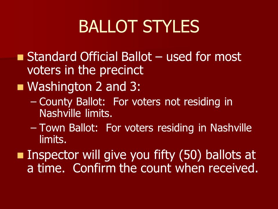 BALLOT CONTROL Do not give a voter a ballot until a voting booth is available.