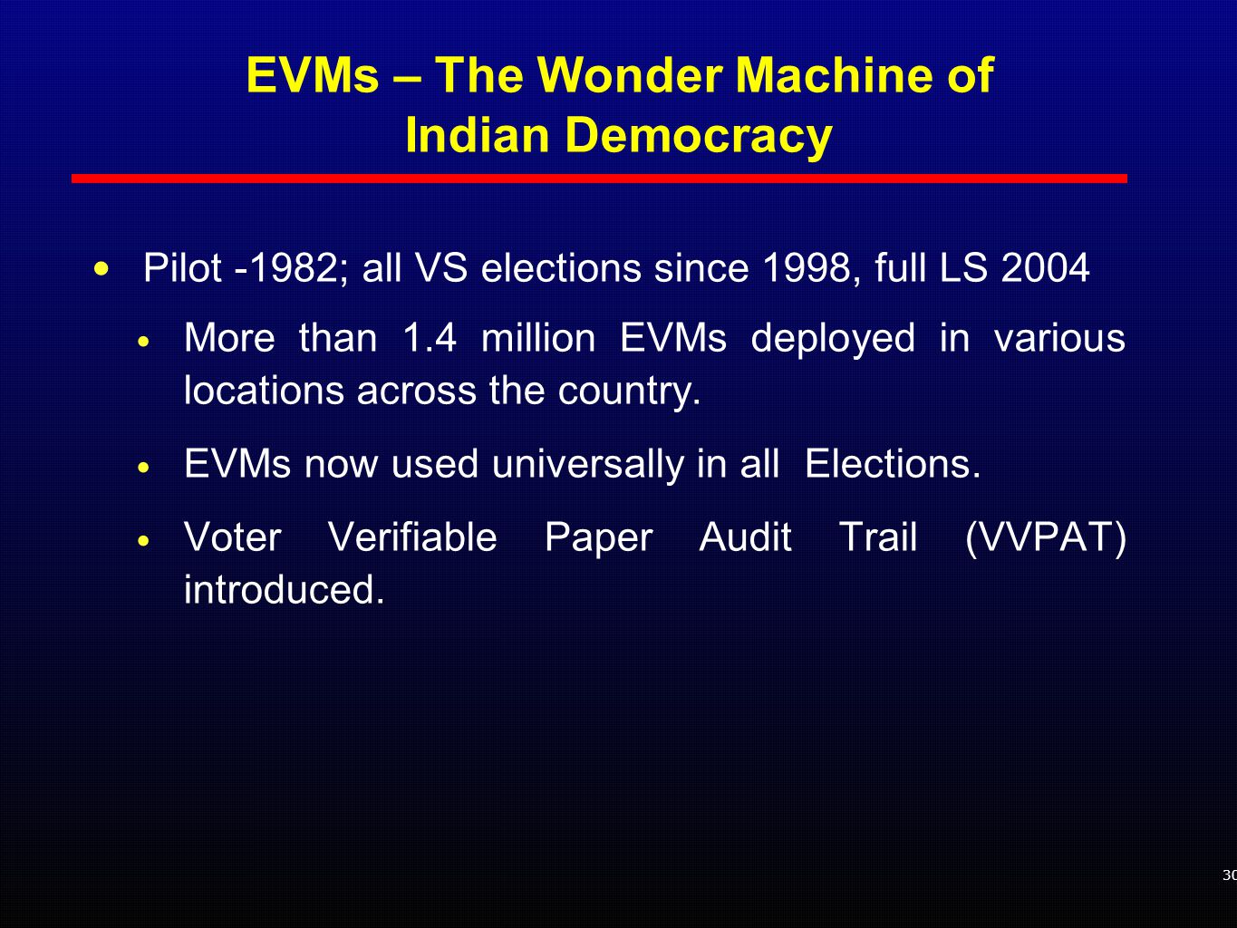 Pilot -1982; all VS elections since 1998, full LS 2004 More than 1.4 million EVMs deployed in various locations across the country.