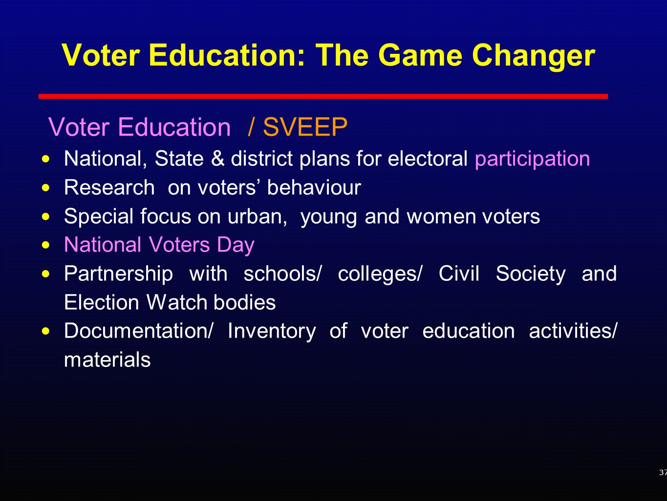 37 Voter Education / SVEEP National, State & district plans for electoral participation Research on voters' behaviour Special focus on urban, young and women voters National Voters Day Partnership with schools/ colleges/ Civil Society and Election Watch bodies Documentation/ Inventory of voter education activities/ materials Voter Education: The Game Changer
