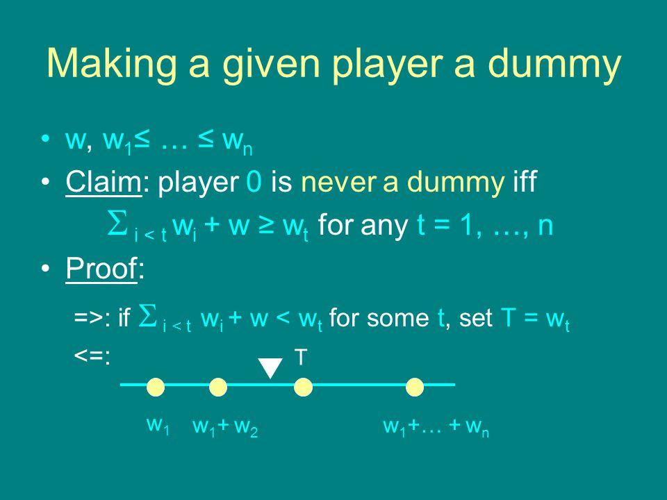 Making a given player a dummy w, w 1 ≤ … ≤ w n Claim: player 0 is never a dummy iff  i < t w i + w ≥ w t for any t = 1, …, n Proof: =>: if  i < t w