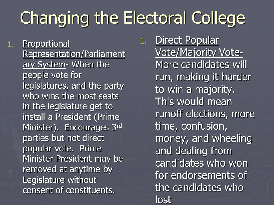 Changing the Electoral College 1. Proportional Representation/Parliament ary System- When the people vote for legislatures, and the party who wins the