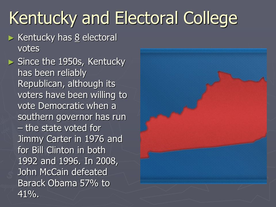 Kentucky and Electoral College ► Kentucky has 8 electoral votes ► Since the 1950s, Kentucky has been reliably Republican, although its voters have bee