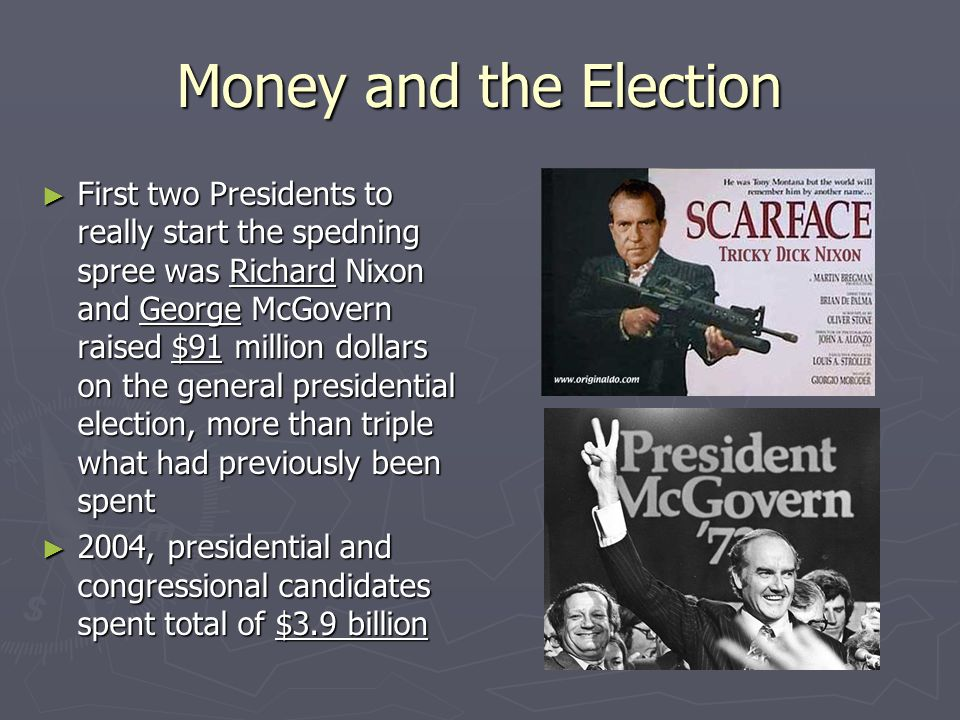 Money and the Election ► First two Presidents to really start the spedning spree was Richard Nixon and George McGovern raised $91 million dollars on t