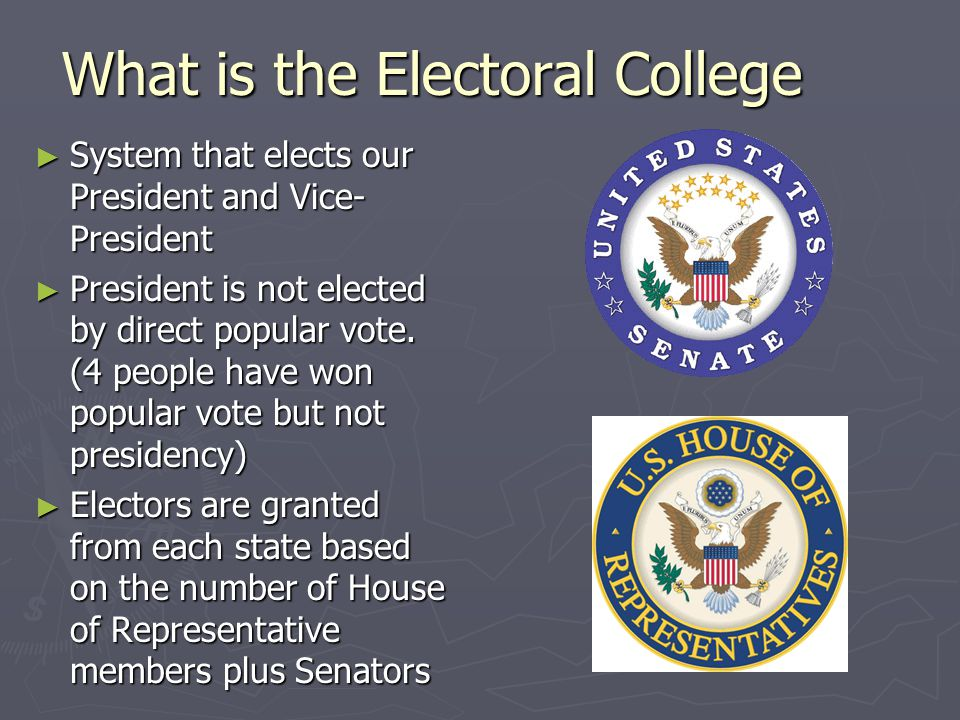 What is the Electoral College ► System that elects our President and Vice- President ► President is not elected by direct popular vote. (4 people have