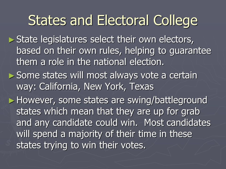 States and Electoral College ► State legislatures select their own electors, based on their own rules, helping to guarantee them a role in the nationa