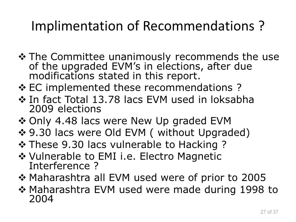 Implimentation of Recommendations .