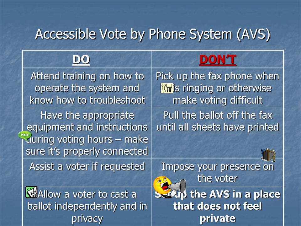 HELPFUL HINTS ON AVS Explain the process to the voter Explain the process to the voter Orient the voter to where the equipment is, then explain to the voter that you need to dial the code for him or her, then you will leave Orient the voter to where the equipment is, then explain to the voter that you need to dial the code for him or her, then you will leave LEAVE!!.
