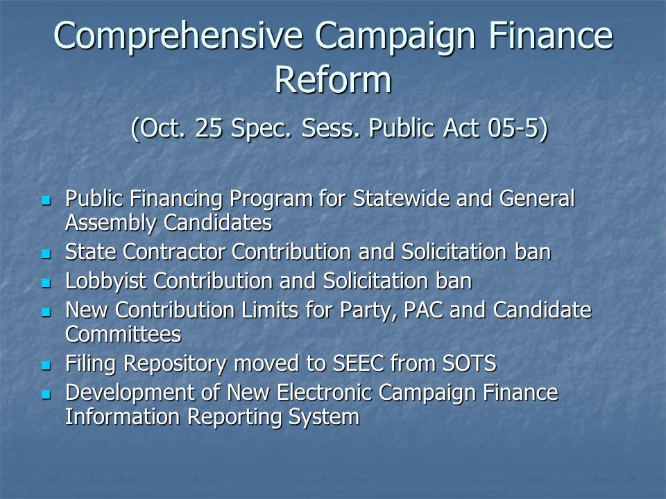 Comprehensive Campaign Finance Reform (Oct.25 Spec.