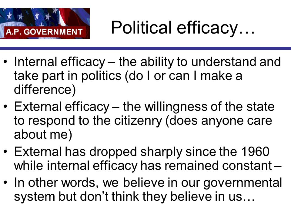 Political efficacy… Internal efficacy – the ability to understand and take part in politics (do I or can I make a difference) External efficacy – the