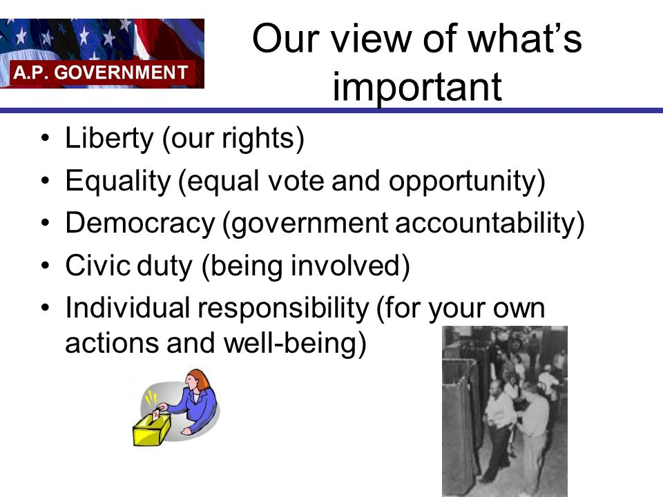 Our view of what's important Liberty (our rights) Equality (equal vote and opportunity) Democracy (government accountability) Civic duty (being involv