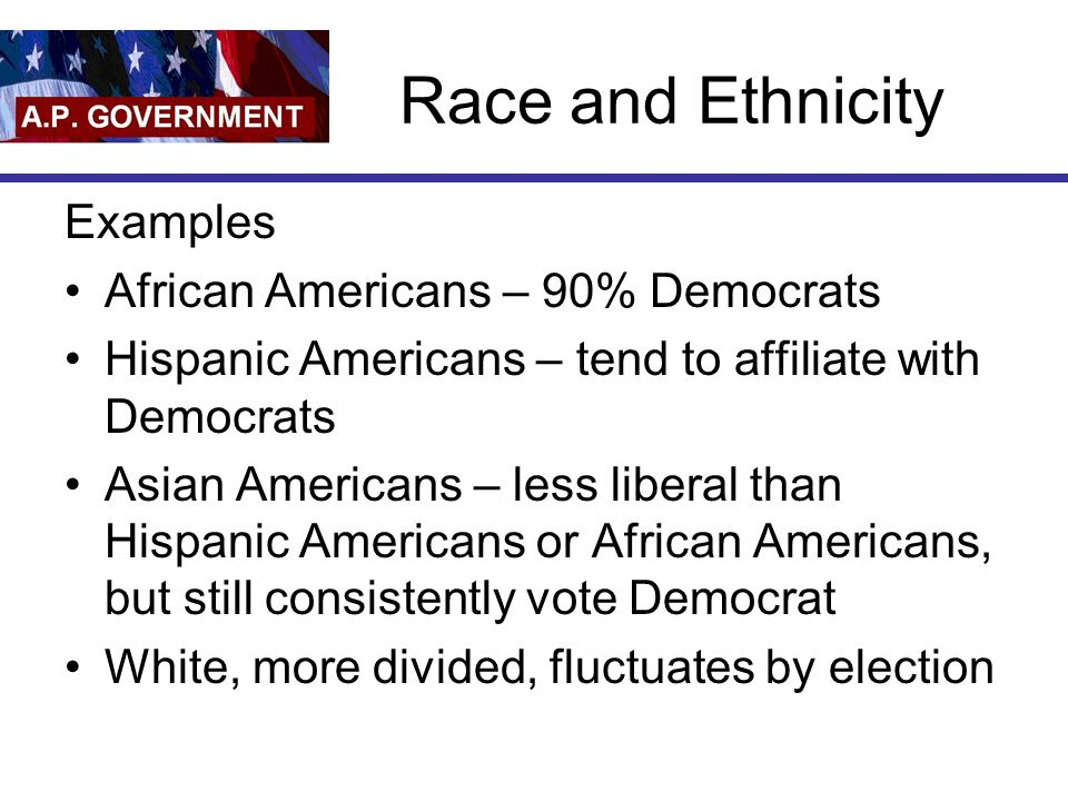 Race and Ethnicity Examples African Americans – 90% Democrats Hispanic Americans – tend to affiliate with Democrats Asian Americans – less liberal tha