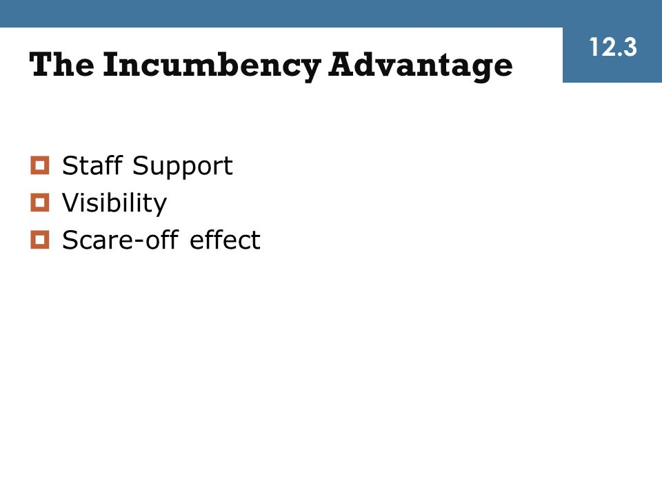 The Incumbency Advantage  Staff Support  Visibility  Scare-off effect