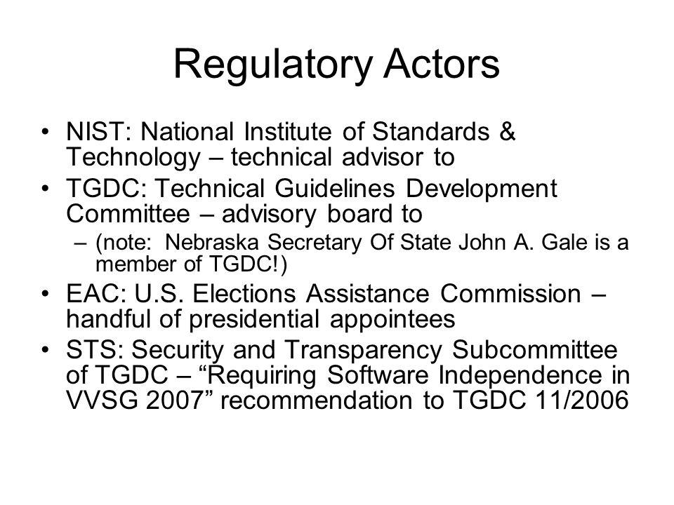 Regulatory Actors NIST: National Institute of Standards & Technology – technical advisor to TGDC: Technical Guidelines Development Committee – advisor
