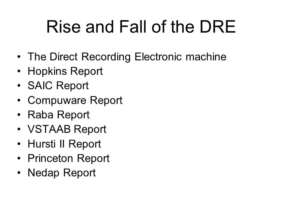 Rise and Fall of the DRE The Direct Recording Electronic machine Hopkins Report SAIC Report Compuware Report Raba Report VSTAAB Report Hursti II Repor