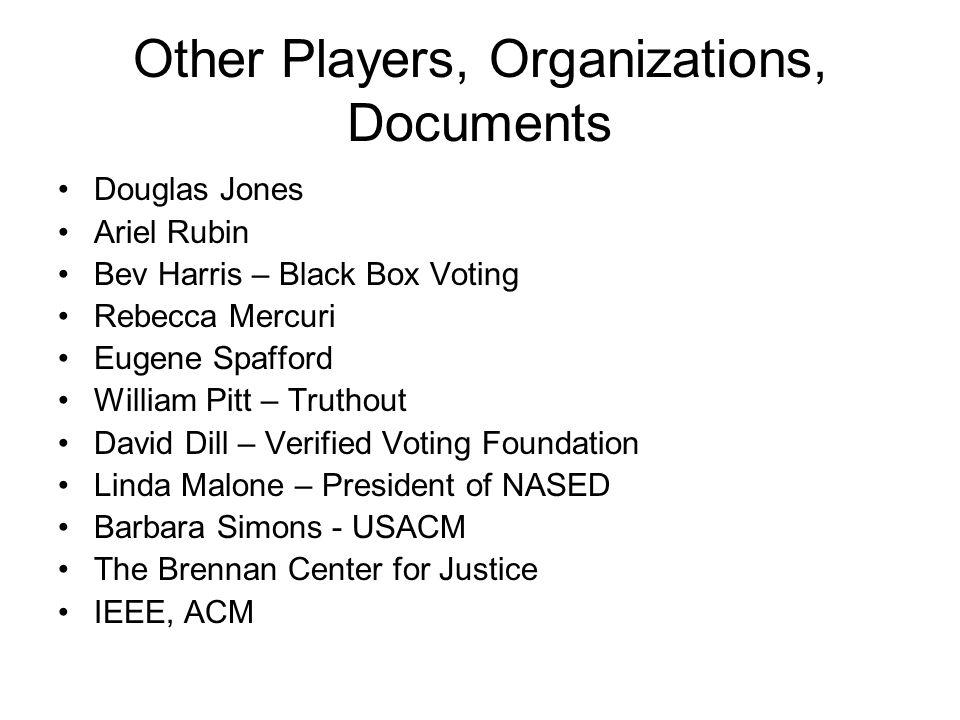 Other Players, Organizations, Documents Douglas Jones Ariel Rubin Bev Harris – Black Box Voting Rebecca Mercuri Eugene Spafford William Pitt – Truthou