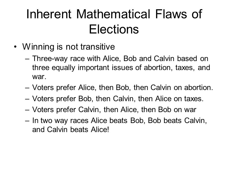 Inherent Mathematical Flaws of Elections Winning is not transitive –Three-way race with Alice, Bob and Calvin based on three equally important issues