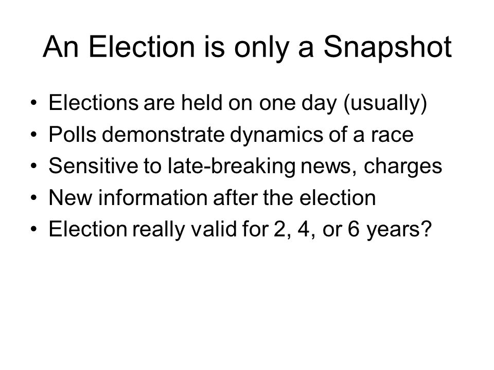 An Election is only a Snapshot Elections are held on one day (usually) Polls demonstrate dynamics of a race Sensitive to late-breaking news, charges New information after the election Election really valid for 2, 4, or 6 years