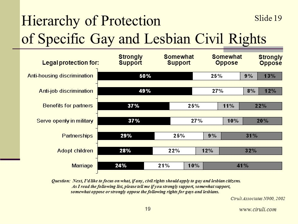 www.ciruli.com 19 Hierarchy of Protection of Specific Gay and Lesbian Civil Rights Question: Next, I'd like to focus on what, if any, civil rights should apply to gay and lesbian citizens.