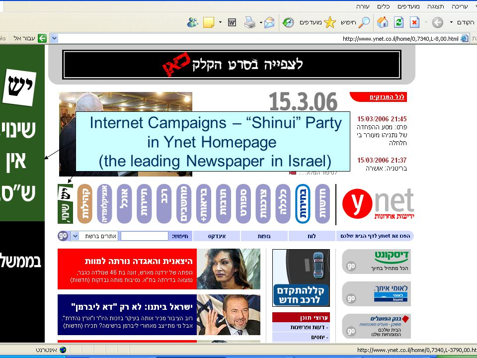"""Internet Campaigns – """"Shinui"""" Party in Ynet Homepage (the leading Newspaper in Israel)"""